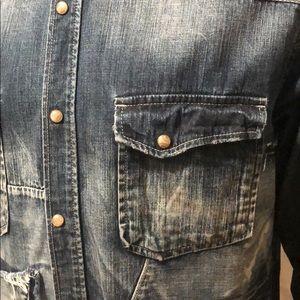 PRPS Shirts - PRPS Distressed Slim Fit Denim Shirt
